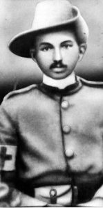 Stretcher bearer M.K. Gandhi, a loyal soldier of the Crown