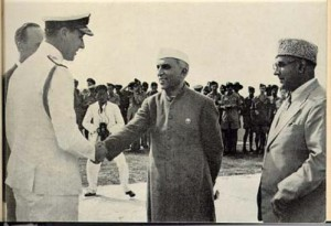 Pandit Jawaharlal Nehru, leader of his people, says goodbye to the British