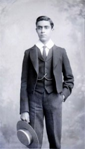 J. Nehru, a well dressed and loyal British schoolboy, poses for a formal photograph